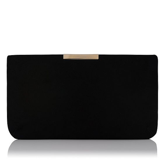 Flora Black Suede Clutch