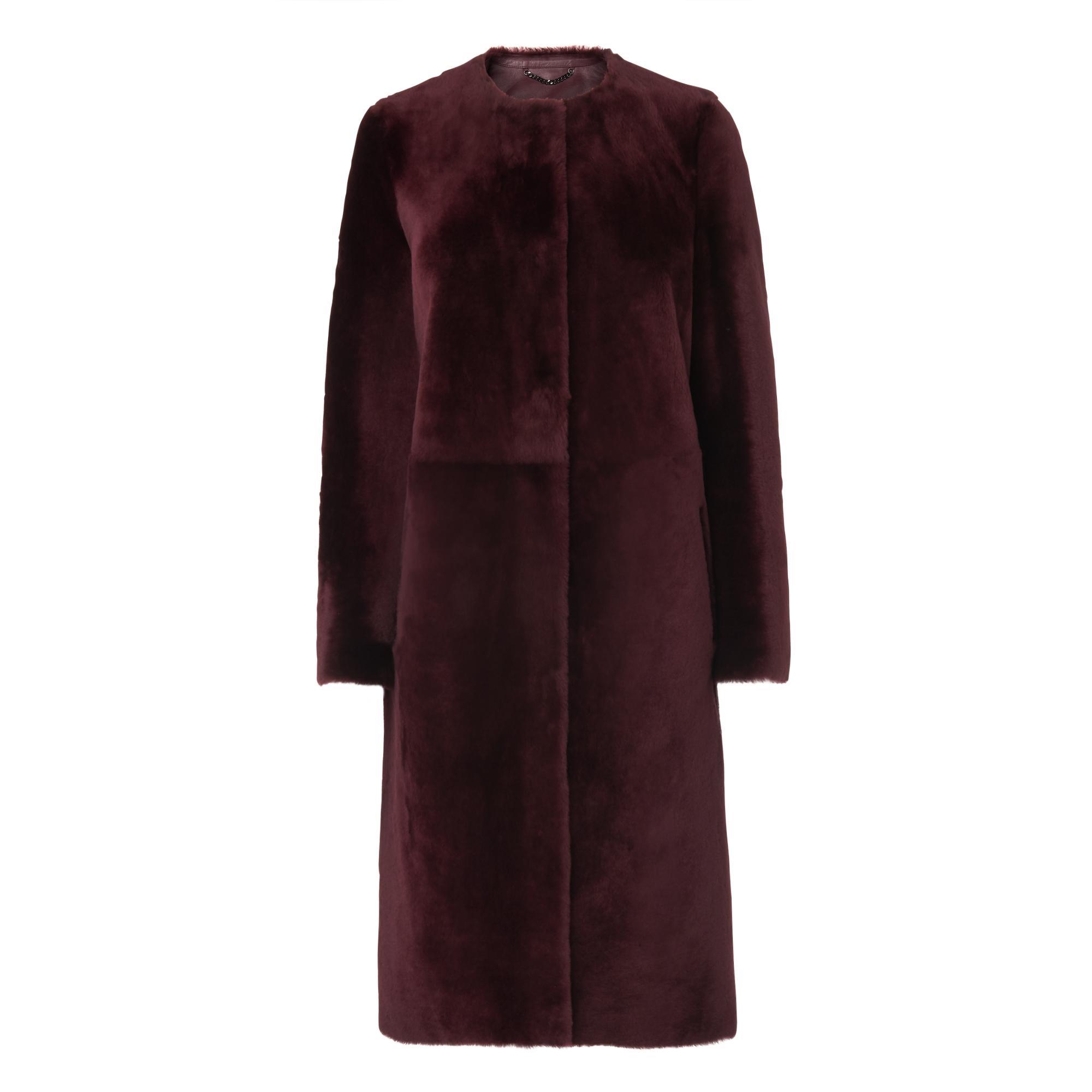 Myrell Ruby Red Merino Fur Coat