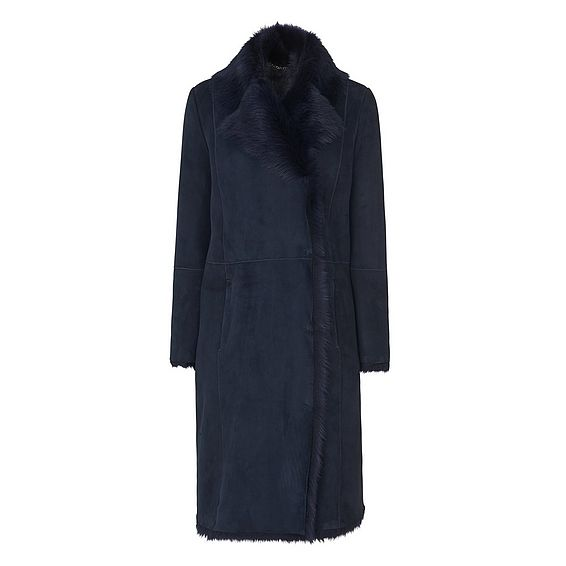 Tori Navy Long Haired Sheepskin Coat
