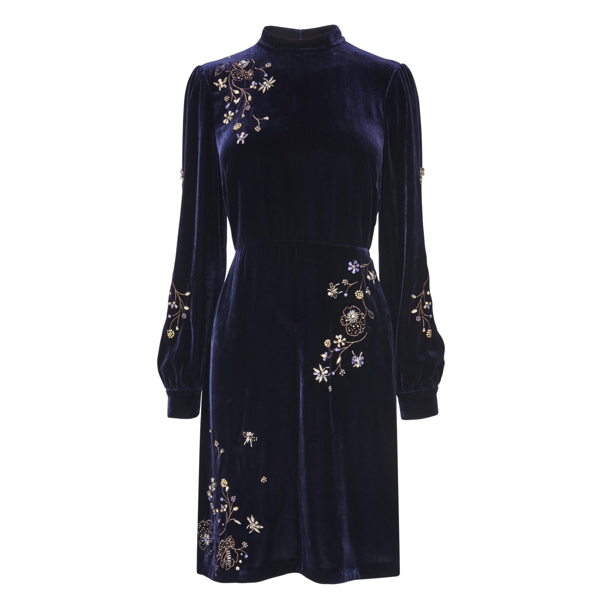 Che Navy Velvet Dress