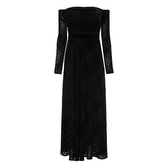 Magalie Black Velvet Dress
