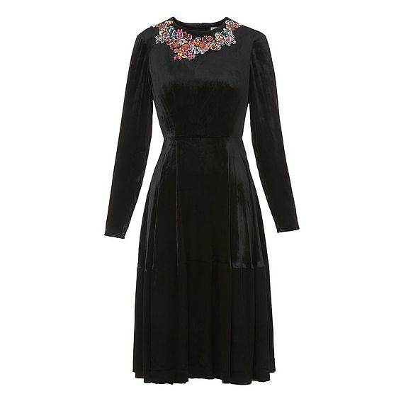Patti Black Velvet Embroidered Dress