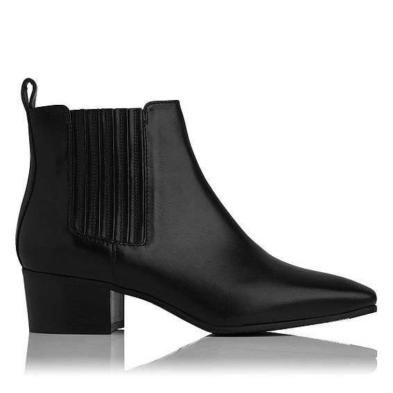 Hariett Black Leather Ankle Boot