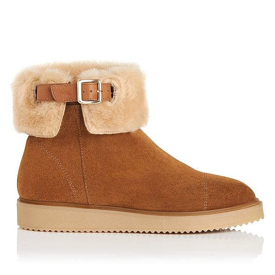 Maci Brown Shearling Ankle Boot