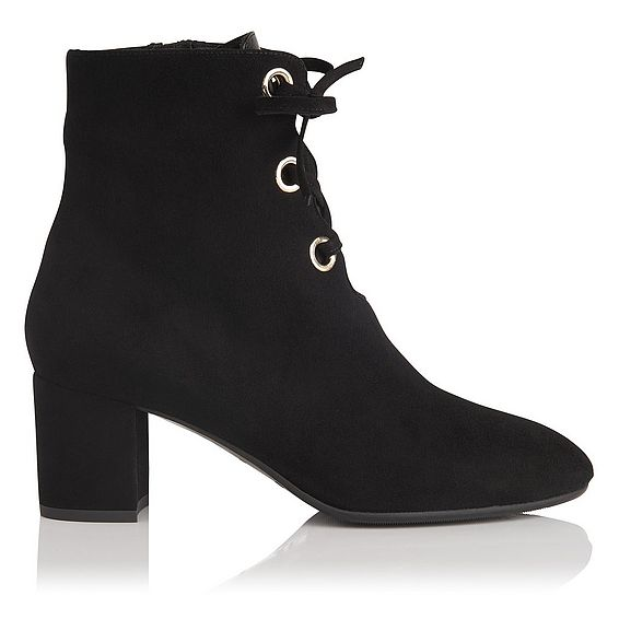 Mollie Black Suede Lace Up Ankle Boot
