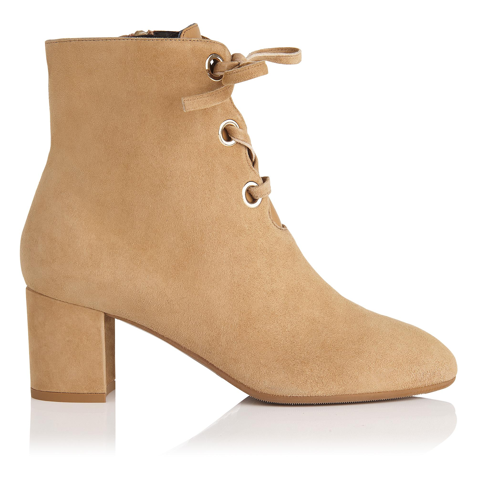 Mollie Camel Suede Lace Up Ankle Boot