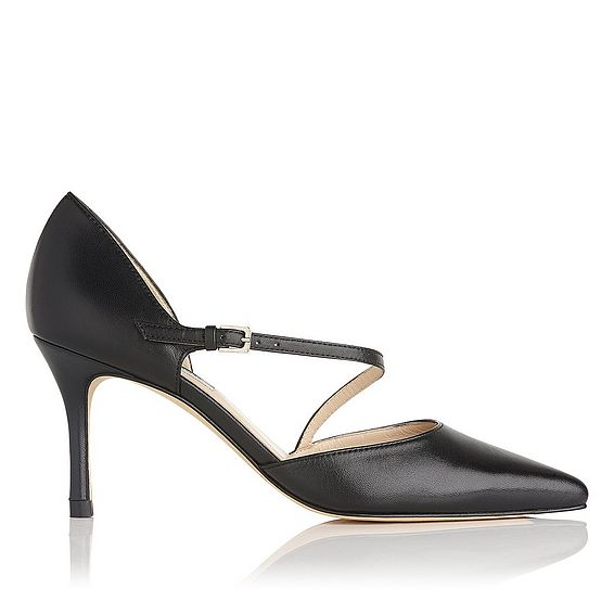 Alix Black Leather Heel