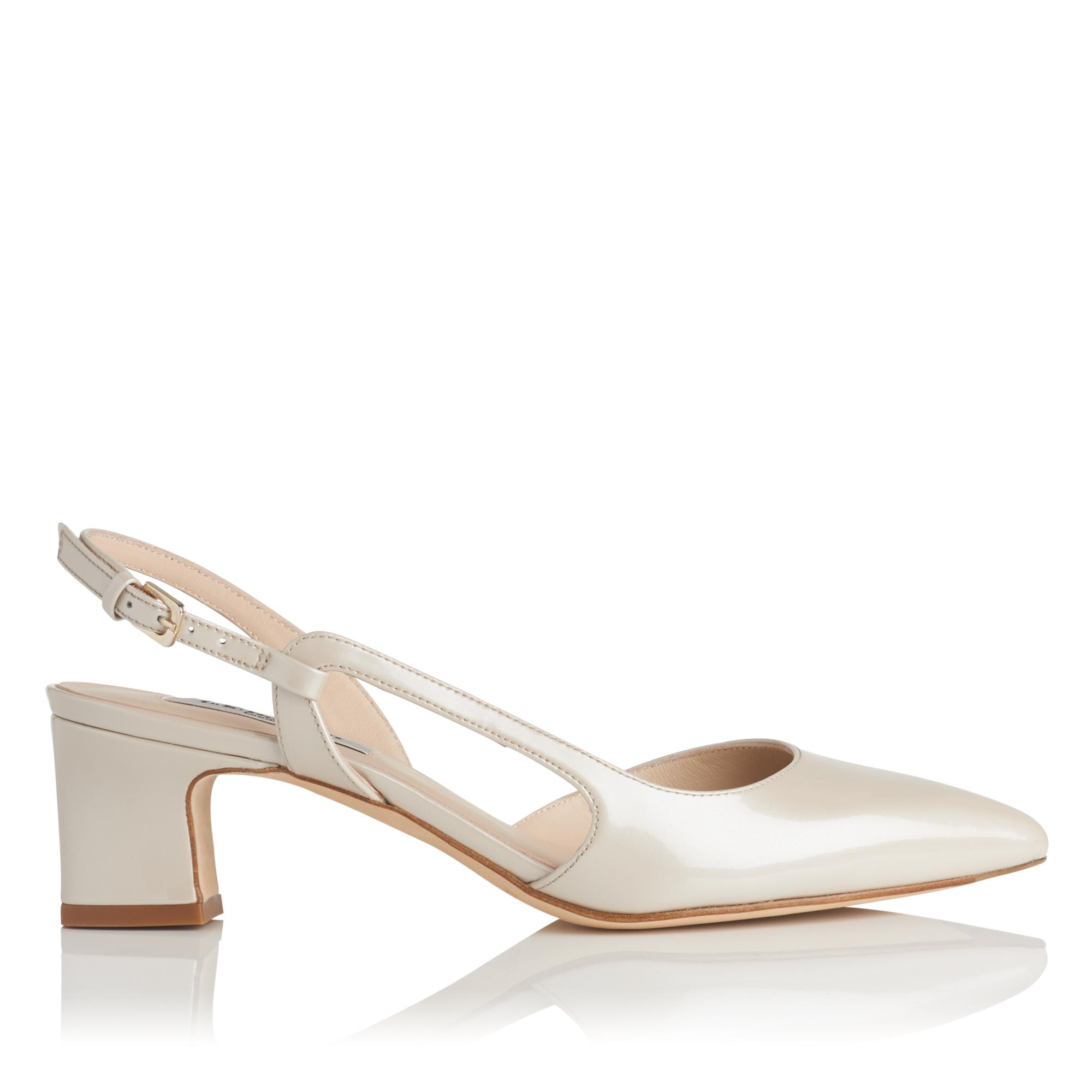 Aurora Cream Pearlized Patent Heel