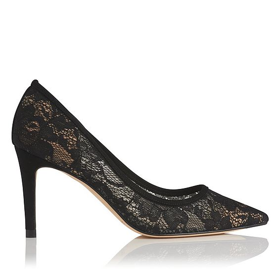 Floret Black Lace Heel
