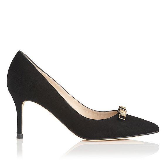 Marion Black Suede Heels