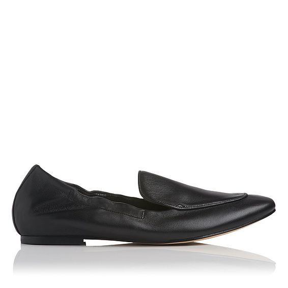 Darla Black Leather Flat