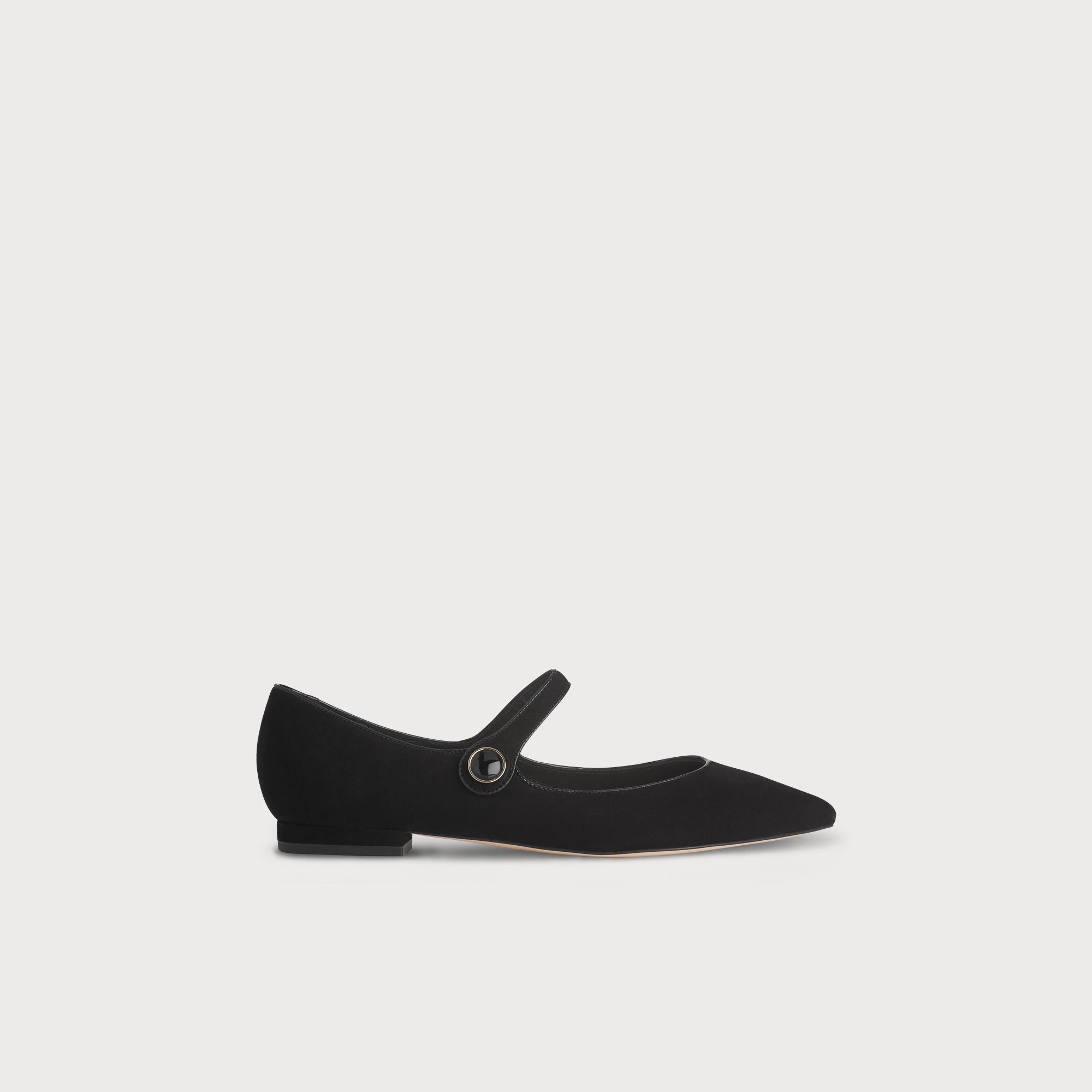 Mary-Jane Black Suede Flat