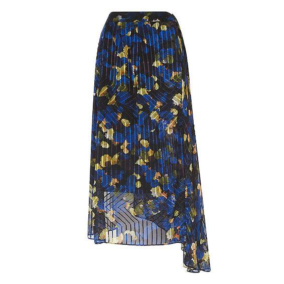 Reed Blue Floral Print Skirt