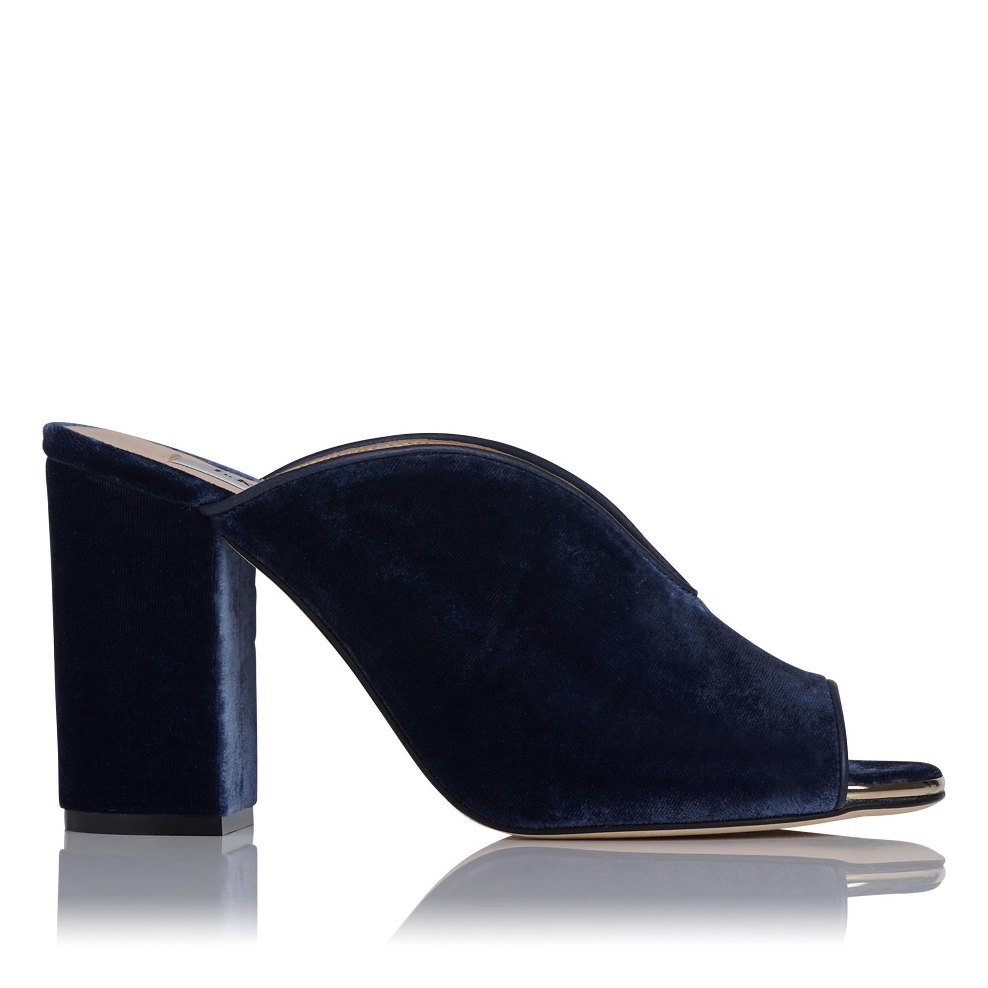 Carmela Blue Velvet Mules