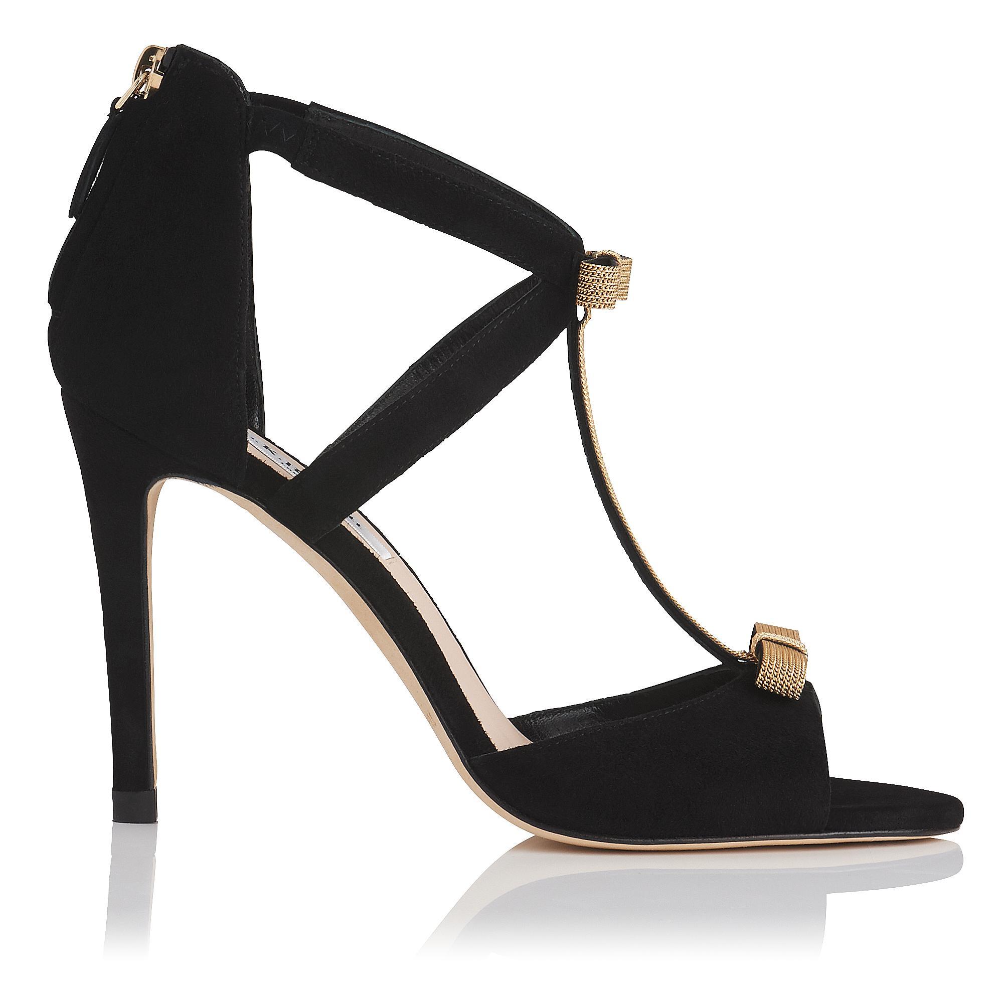 Niki Black Suede Chain Sandal