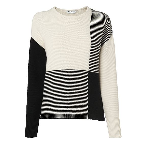 Tone Black and White Patchwork Sweater