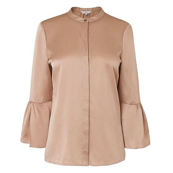 Willow Pink Silk Bell Sleeve Top