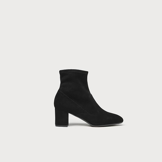 Alexis Black Stretch Suede Ankle Boots