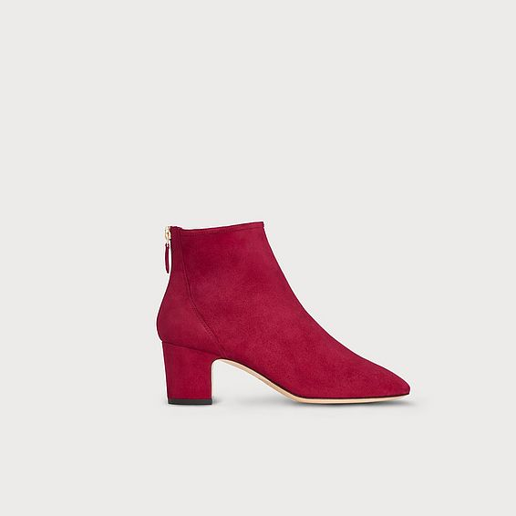 Alyss Red Suede Ankle Boots