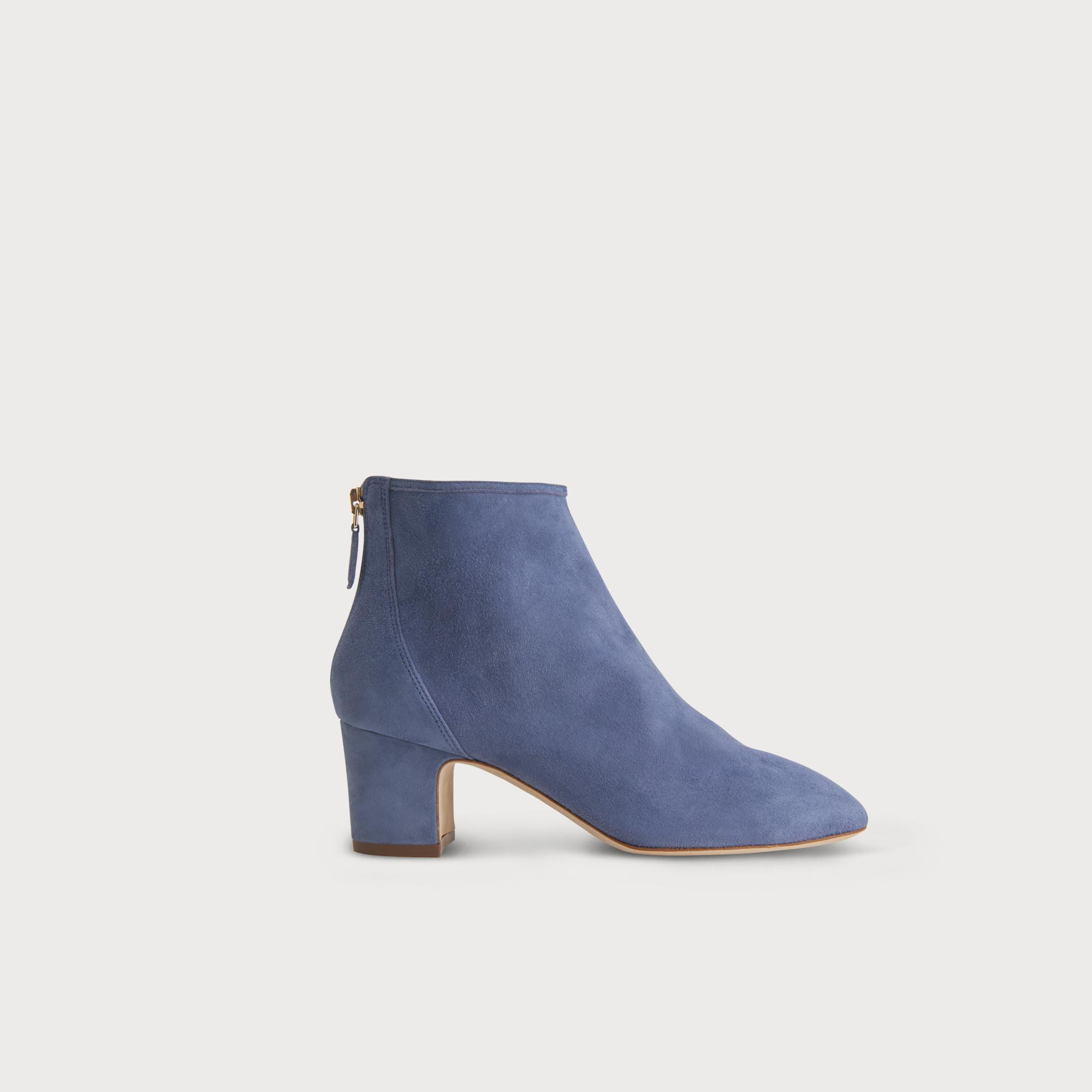 Alyss Powder Blue Suede Ankle Boots