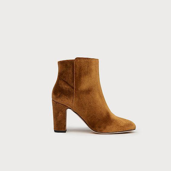 Ayla Bronze Velvet Ankle Boots