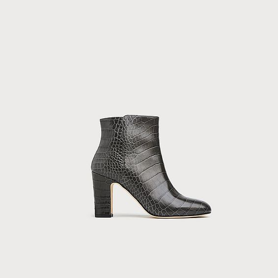 Ayla Grey Croc Effect Ankle Boots