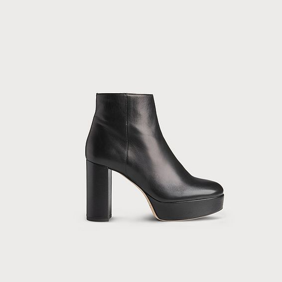 Katelyn Black Nappa Leather Ankle Boots
