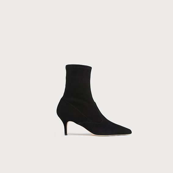 Lou Black Suede Ankle Boots