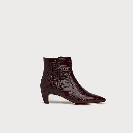 Meadow Wine Croc Ankle Boots