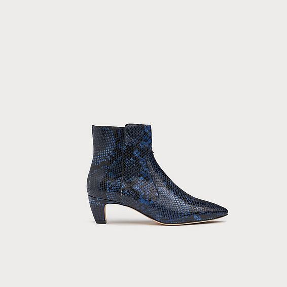 Meadow Navy Snake Effect Ankle Boots