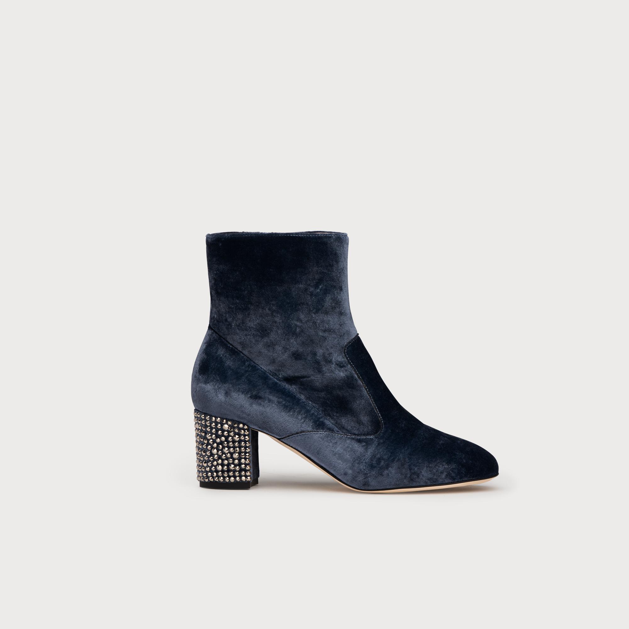 Phoebe Powder Blue Velvet Ankle Boots