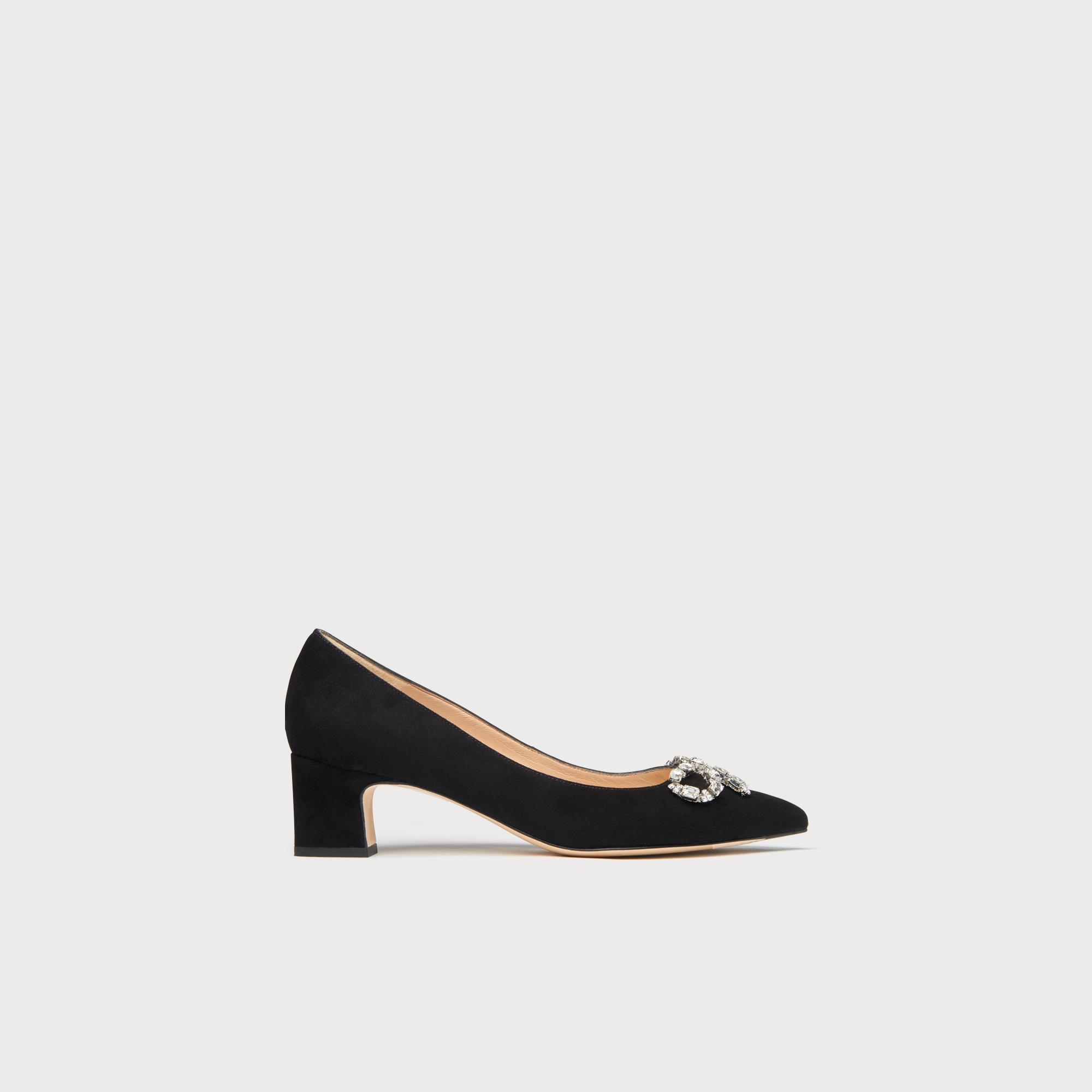 3c7272e57d318 Annabelle Black Crystal Bow Heels