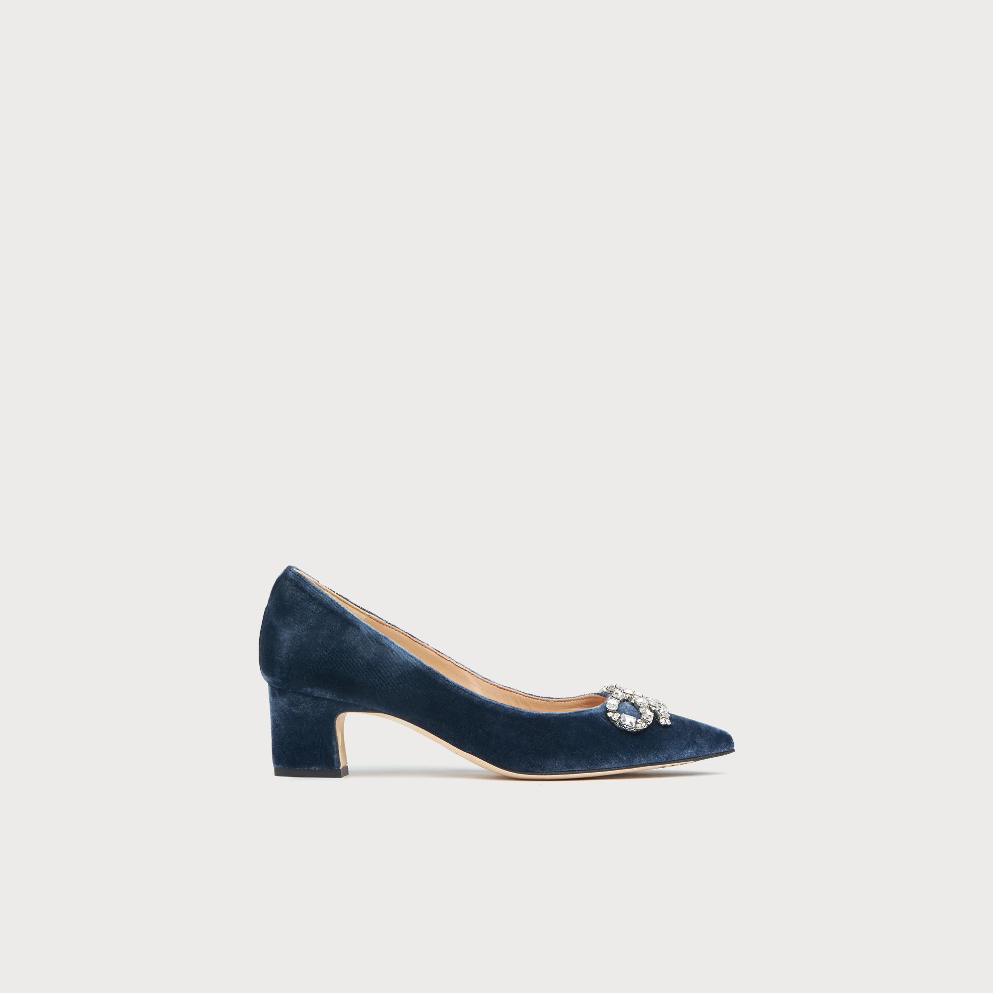 bdc8ce49625 Annabelle Blue Velvet Bow Heels