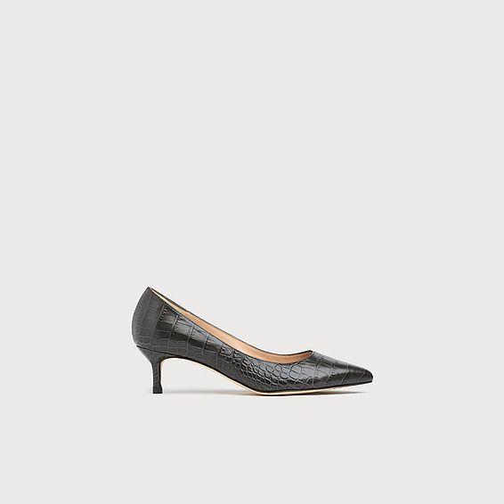 Audrey Grey Croc Effect Heels