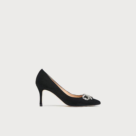 Bianca Black Swarovski Bow Heels