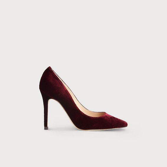 Fern Wine Velvet Heels
