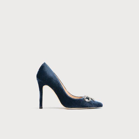 Fern Blue Velvet Crystal Heels
