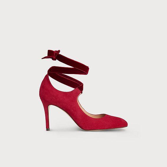 Mesha Red Suede Heels