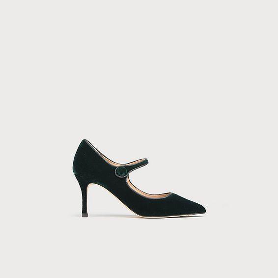 Monica Green Velvet Heels