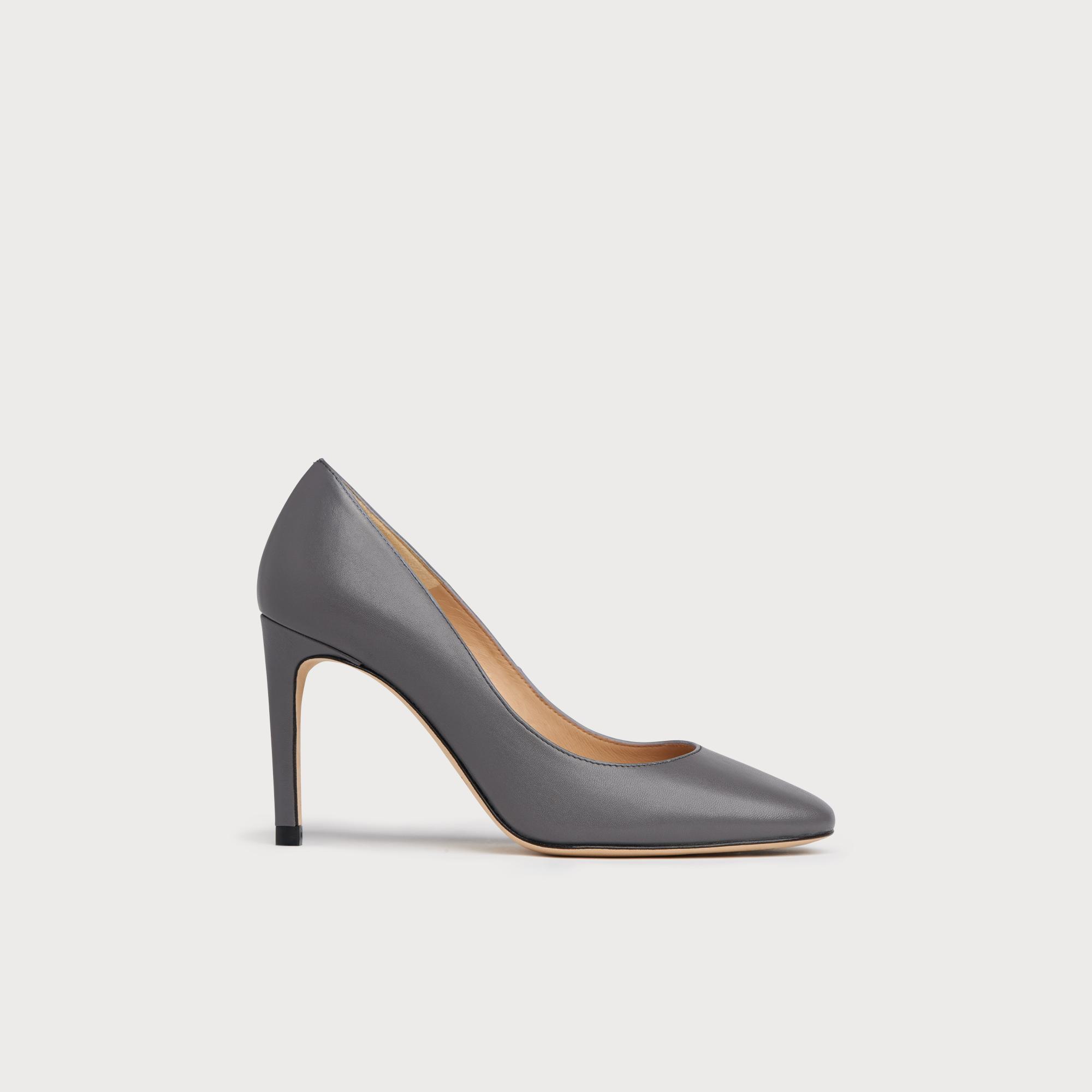 Nova Warm Grey Nappa Leather Closed Heels