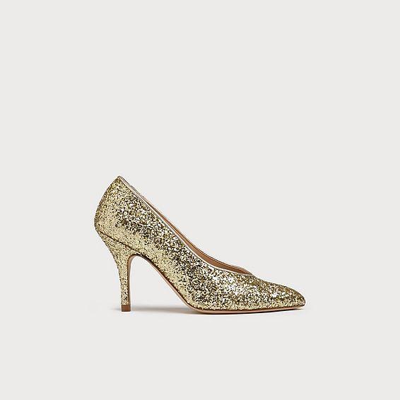 Robyn Gold Glitter Heels
