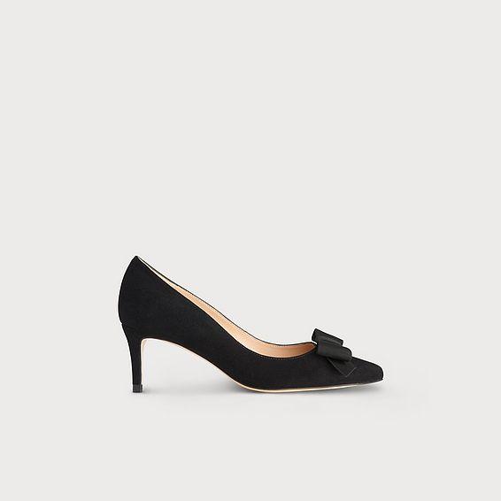 Saskia Black Suede Bow Heel
