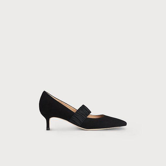 Tina Black Suede Elastic Heels