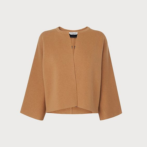 Xavier Camel Sloane Blue Wool Mix Cardigan