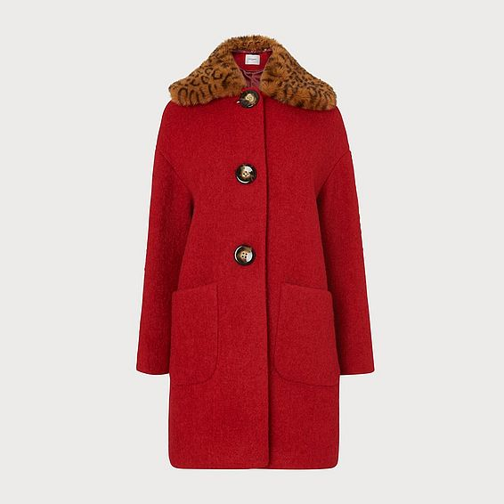 Aster Red Wool Coat