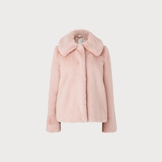 Ivone Pink Faux Fur Coat