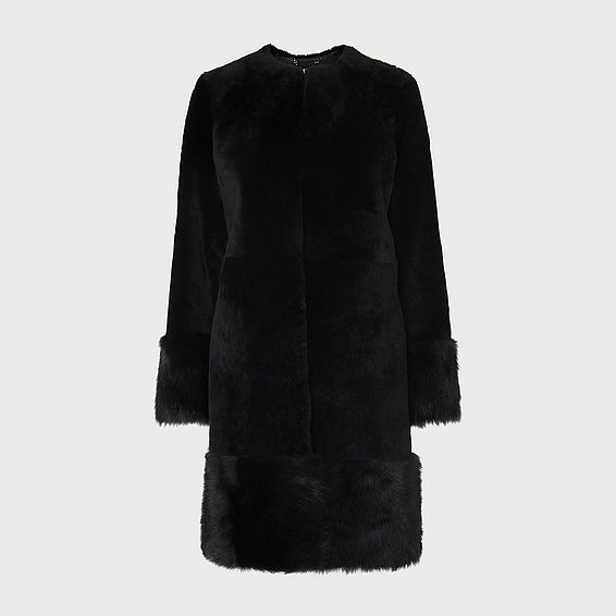 Mishia Black Shearling Coat