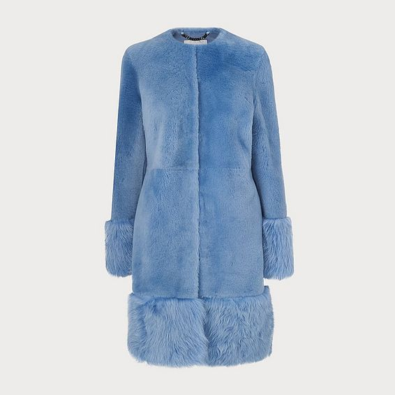 Mishia Blue Shearling Coat