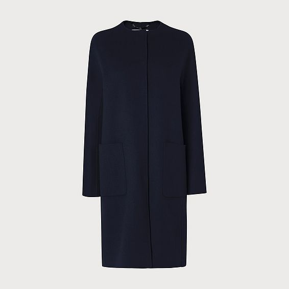 Pandora Navy Wool Cashmere Coat