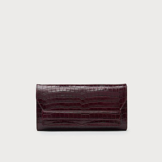 Ella Bordeaux Croc Effect Clutch